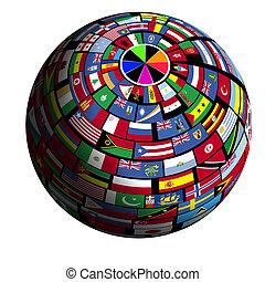 aarde, flag-covered, polar1, -, aanzicht