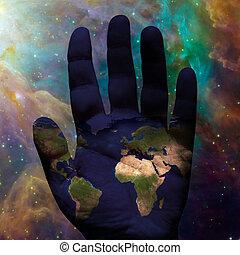 aarde, galactisch, hand
