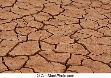 aarde, gebarsten, woestijn