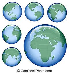 aarde, glanzend, kaart