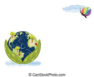 aarde, groene, -, bewaring, natuur