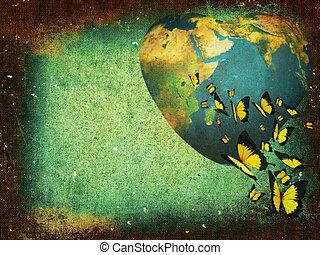 aarde, grunge, background-planet