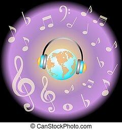 aarde, grunge, oortelefoons