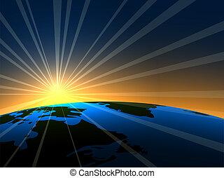 aarde, helder, op, zonopkomst, ruimte