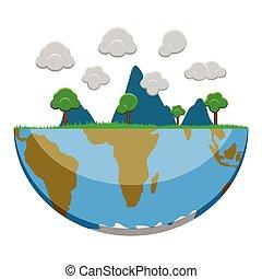 aarde, helft, landscape, natuur