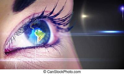 aarde, het spinnen, oog, menselijk
