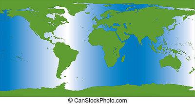 aarde, illustratie, kaart