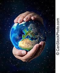 aarde, in, de, handen, -, europa