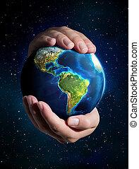 aarde, in, de, handen, -, heelal