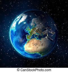 aarde, in, de, ruimte, -, heelal