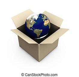 aarde, in, een, doosje