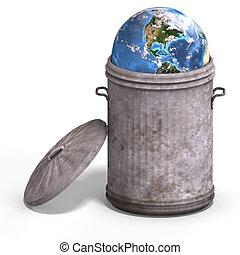 aarde, in, een, vuilnisvat
