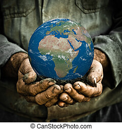 aarde, in, hand