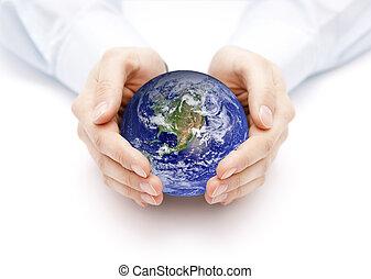 aarde, in, handen