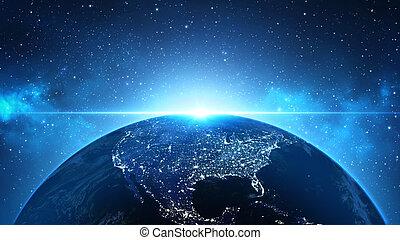 aarde, in, heelal, ruimte, in, nebula