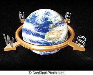 aarde, kompas