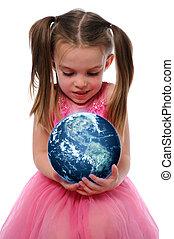 aarde, meisje, vasthouden
