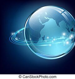 aarde, met, digitale , vezels