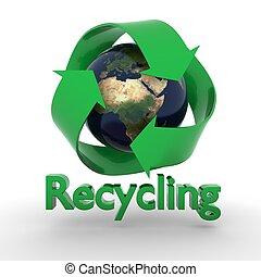 aarde, met, recyclend symbool