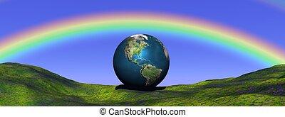 aarde, onder, regenboog