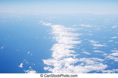 aarde, onder, wolken, boven, aanzicht