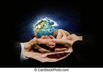 aarde, planeet, in, handen