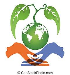 aarde, plant, holdingshanden