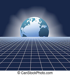 aarde, rijzen, globe, op, communicatie, netwerk, rooster