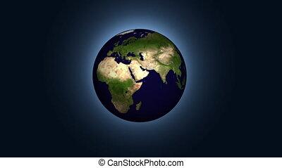 aarde, roteren, animatie