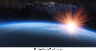 aarde, ruimte, horizon, op, ondergaande zon , zonopkomst, spectaculair