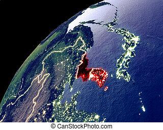 aarde, satelliet, korea, aanzicht