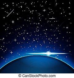 aarde, space., stars.