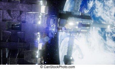aarde, station, ruimte