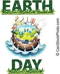 aarde, thema, dag