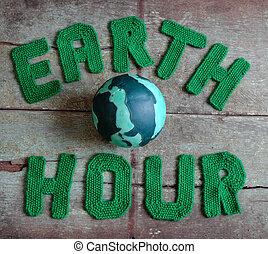 aarde, uur, boodschap, wereldwijd
