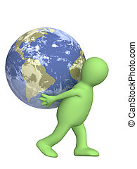 aarde, verdragend, marionet, 3d