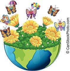 aarde, vlinder, bloemen, thema