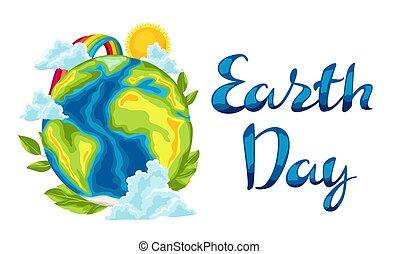 aarde, vrolijke , card., dag