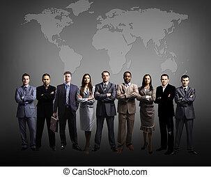 aarde, zakenlieden, staand, kaart, voorkant