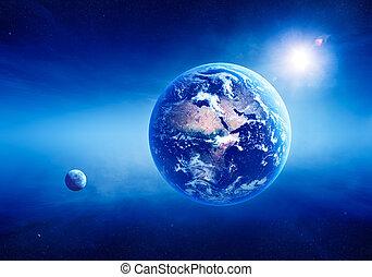 aarde, zonopkomst, diep, ruimte