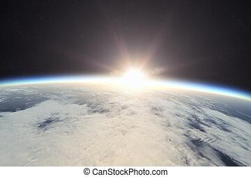 aarde, zonopkomst, ruimte