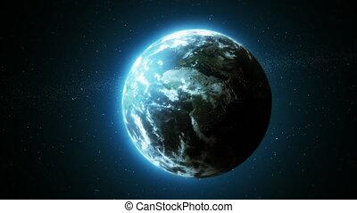 aarde, zoomen in, om te, wolken, laag