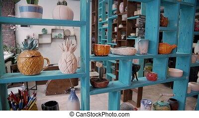 aardewerk, decoratief, aardewerk, vaat, planken, vaas