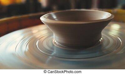 aardewerk, draaiend wiel, binnenkant., handcraft, vaas,...