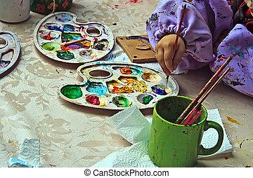 aardewerk, tien, schilderende kinderen
