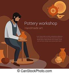 aardewerk, vector, poster., text., vase., werken, pottenbakker, illustratie, workshop, meester, ambachtsman, klei, ambacht, plek, maakt