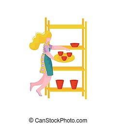 aardewerk, vrouw, werkende , ambacht, beroep, jonge, illustratie, vector, workshop, hobby, ceramists, of