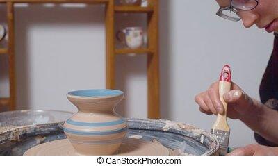aardewerk wiel, schilderij, vaas