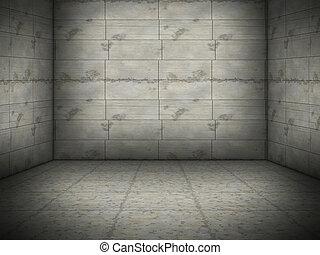 aardig, beton, kamer