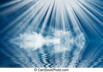 aardig, blauwe hemel, ocean., boven, wolken